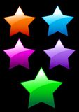 简单的发光的星形按钮 库存图片