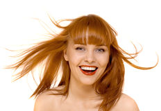 детеныши женщины усмешки волос счастливые изолированные красные Стоковое фото RF