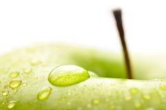 湿苹果的特写镜头 免版税图库摄影