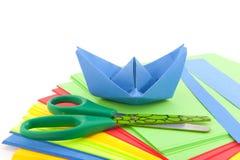 小船折叠的纸张 免版税库存照片