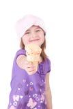 锥体女孩冰淇凌 免版税库存照片