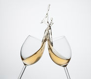 飞溅白葡萄酒 免版税库存照片
