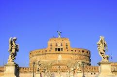古老天使城堡罗马雕象 库存照片
