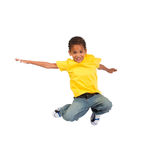 非洲男孩跳 免版税库存图片