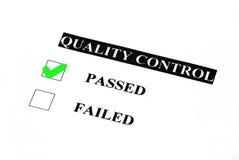 控制通过的质量 免版税库存照片