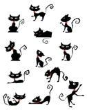 силуэты черного кота Стоковые Изображения