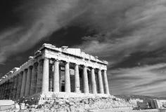 上城古老雅典希腊帕台农神庙 库存照片