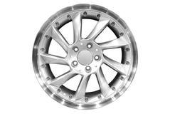 铝小汽车赛轮子 库存图片