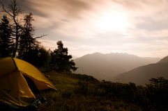 晚上帐篷 图库摄影
