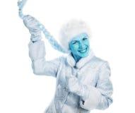 蓝色表面女孩 免版税库存照片