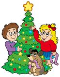 装饰孩子结构树二的圣诞节 免版税库存照片