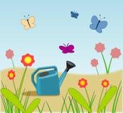 蝴蝶装花园浇灌于罐中 免版税图库摄影