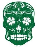 日死金银细丝工的绿色头骨糖向量 库存图片