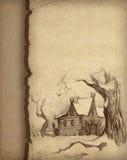 图画房子铅笔 免版税库存图片