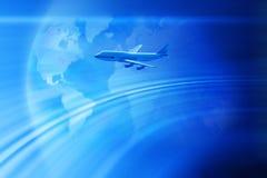 飞机背景全球旅行 免版税库存照片