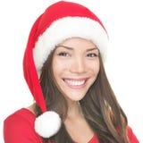 亚洲女孩圣诞老人微笑 免版税库存图片
