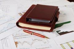企业图表桌面绘制组织者 免版税库存图片