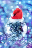 球迪斯科帽子发光的圣诞老人 库存图片