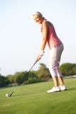 Ανώτερος θηλυκός παίκτης γκολφ που τοποθετεί στο σημείο αφετηρίας μακριά Στοκ Εικόνα
