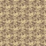 米黄棕色无缝锦缎花卉模式的玫瑰 免版税库存照片