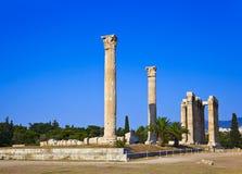 雅典希腊奥林山寺庙宙斯 图库摄影