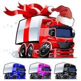 圣诞节单击一重漆卡车向量 库存图片