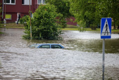 πλημμυρισμένη οδός Στοκ φωτογραφία με δικαίωμα ελεύθερης χρήσης