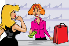 оплачивать женщину Стоковая Фотография