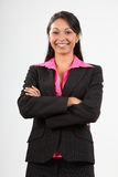 美丽的企业可爱的微笑诉讼佩带的妇&# 图库摄影