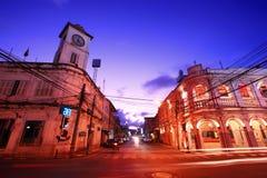 编译的老普吉岛泰国城镇 免版税库存照片