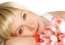 женщина тюльпанов Стоковое Изображение RF