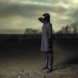 девушка пальто шикарная Стоковое Фото