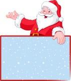 看板卡在圣诞老人的克劳斯问候 免版税库存图片