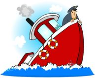 上尉船下沉 免版税库存照片