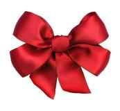 弓礼品红色丝带缎 免版税库存照片