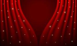红色的窗帘 库存照片