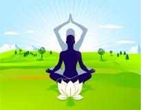 休闲室外瑜伽 免版税库存照片