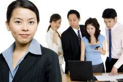 女实业家和小组 免版税库存照片