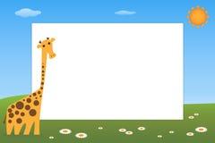 框架长颈鹿孩子 免版税库存图片