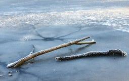 冻结的湖冬天 图库摄影