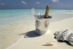 海滩香槟热带的马尔代夫 免版税库存图片
