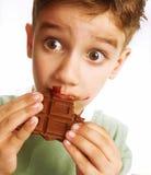 男孩巧克力 免版税库存图片