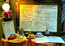 意大利菜单餐馆 库存照片