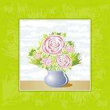 花玫瑰色花瓶向量 库存照片