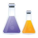化学制品色的烧瓶 免版税库存照片
