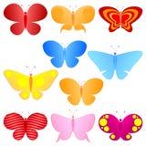 蝴蝶五颜六色的集 免版税库存图片