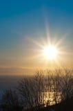 солнце утра светя Стоковые Фотографии RF
