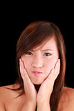 做青少年的年轻人的美国亚裔表面女&# 免版税库存图片