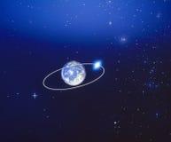 在地球月球轨道附近 免版税库存图片