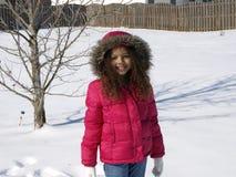 女孩少许雪 免版税图库摄影